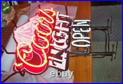 VINTAGE MOUNTAIN COORS LIGHT OPEN Neon Light Sign WORKS