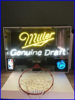VINTAGE NBA MILLER GENUINE DRAFT BASKETBALL Hoop NEON SIGN 34X 24 Neon Light