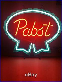 (VTG) 1980s Pabst beer neon light up bar sign game room man cave PBR wi