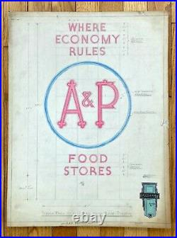 VTG Antique Original 1940s Neon Sign Concept Drawing A & P Food Stores OOAK