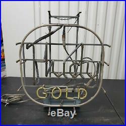 VTG Hudepohl Hudy Gold Neon Sign Cincinnati Bar Light Working 87 80's Everbrite