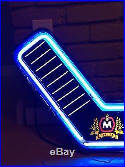 vtg molson beer hockey stick neon light up sign game room bar canada rare vintage neon signs. Black Bedroom Furniture Sets. Home Design Ideas
