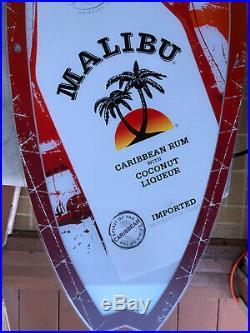 VTG Malibu Rum LARGE SURFBOARD LED Neon LIGHTED SIGN LARGE 36X12 MAN CAVE Bar