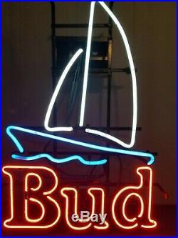 (VTG) budweiser beer sailboat & water neon light up sign ANHEUSER Busch nautical