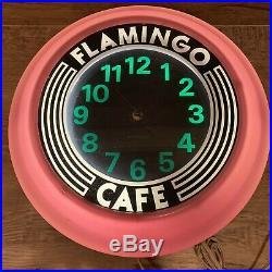 Vintage 1978 Neon Pink Flamingo Cafe Sign Wall Clock Diner