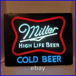 Vintage 1980s Miller High Life Cold Beer Lighted Sign Faux Neon 20 x 15