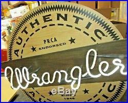 Vintage 1980s Wrangler Jeans Denim Clothing Advertising Neon Store Display Sign