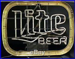 Vintage 1983 Miller Lite Beer Neon Lighted Sign, 21 x 16 x 6, Collectors