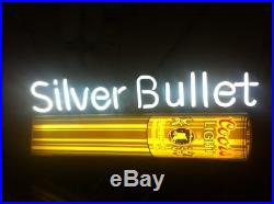 Vintage 1985 Coors Light Beer Silver Bullet Neon Sign For Man Cave Or Bar