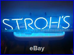 Vintage 1990 STROH'S Blue Neon Beer SIGN Lighted Bar Advertising RARE
