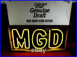 Vintage 1999 MGD NEON SIGN (STILL IN Original BOX withPaperwork!) 25 x 12