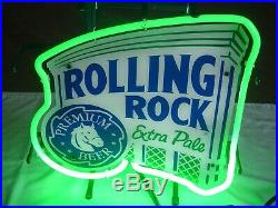 Vintage 2013 Rolling Rock Beer Neon Bar Sign Made In USA Perfect 14x14