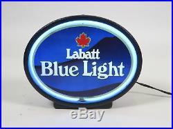 Vintage 9 Labatt Blue Light Neon Table Top/Wall Light Beer Sign