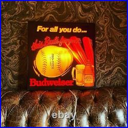 Vintage American Budweiser Light Up Wall Sign Not Neon. Large Mancave Sign