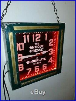 Vintage Antique Bookplate Co. Neon Clock. Gas Pump Plate Oil Sign Porcelain
