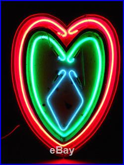 Vintage Antique Wood Heart 3 Color Neon Love Sign 26 x 18 Franceformer Brothel