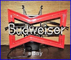 Vintage BUDWEISER Beer NEON Light ORIGINAL SIGN Bowtie Bar Advertising Bud Rare