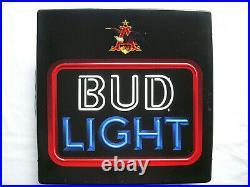Vintage BUD LIGHT Neon Look LIGHTED Beer Sign Bar Ad BUDWEISER Rare Plastic