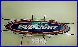 Vintage Bud Light Neon Sign Oval Surfboard Large 36X12 Inch