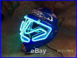 Vintage Bud Light Phoenix Coyotes NHL Hockey Mask Extremely Rare Neon Bar Sign