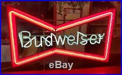 Vintage Budweiser Beer Bowtie Neon Sign