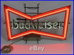 Vintage Budweiser Beer Neon Lighted Bow Tie Sign Circa 1980 Anneuser Busch