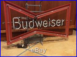 Vintage Budweiser Bowtie Beer Neon Store Sign Vintage 1980 28.5 Anheuser Busch