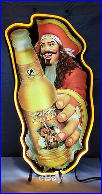 Vintage Captain Morgan Gold Neon Bar Sign 35 3/4 X 13 1/2 Man Cave Home Bar