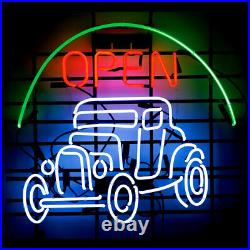 Vintage Car Open Neon Lamp Sign 17x14 Bar Light Garage Cave Glass Artwork