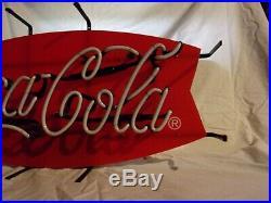 Vintage Coca-Cola Fishtail Neon Light-Up Sign 1993