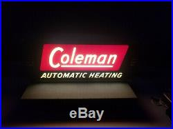 Vintage Coleman Automatic Heating Lighted Sign, Neon Products Inc. Works Great