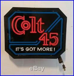 Vintage Colt 45 Malt Liquor It's Got More! Lighted Bar Sign Rare Neon Sign