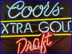 Vintage Coors Extra Gold Draft Beer Neon Bar Sign