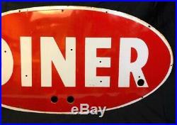 Vintage Ex Neon Porcelain Sign Face Diner