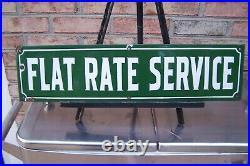 Vintage Flat Rate Service Porcelain Gas Station Sign, 1940's Original
