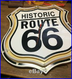 Vintage Historic Route 66 Neon Sign and Clock Man Cave Bar Clean Tested WORKS