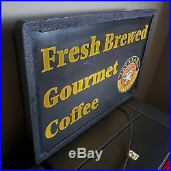 Vintage Javarama Fresh Brewed Gourmet Coffee LED Light Up Sign 23.5x15.5x5