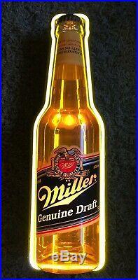 Vintage Large Miller Genuine Draft bottle NEON Beer bar sign light working 32