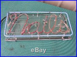 Vintage Large Nails Neon Sign Mani Pedicure Massage Salon 23x 11