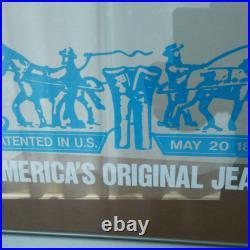 Vintage Levi's Store Display Sign Blue Neon Light 31cm × 38cm