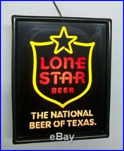 Vintage Lone Star Beer Light Up Sign Neo Neon Lighted Man Cave Bar Decor