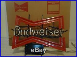 Vintage MID 80's Budweiser Bow Tie Neon Sign With Box Exellent Condition