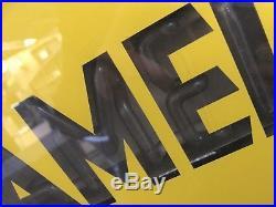 Vintage Mid Century Sheet Metal Neon Enamel Advertising Sign Industrial 70cm