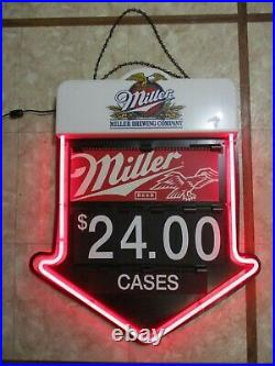 Vintage Miller Brewing Neon Arrow Double Sided Window Store Display Sign Prices