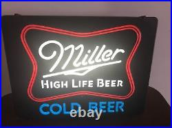 Vintage Miller High Life Cold Beer Lighted Sign 22 x 17 Bar Man Cave