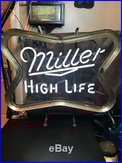 Vintage Miller High Life Flashing Neon Sign WithOriginal Neon 1970s. 22x6 1/2x19