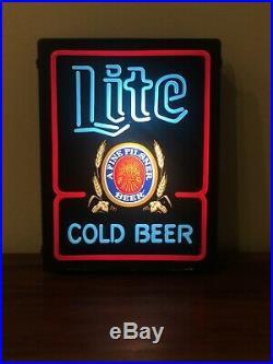 Vintage Miller Lite Cold Beer Pilsner LED Light Up Neon Box Plastic Sign 20x15