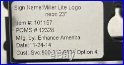 Vintage Miller Lite Neon Light Beer Sign Rare FREE SHIPPING