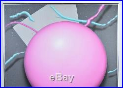 Vintage Modernist 80s Painting Pink Ball Neon Acrylic Painting