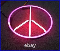 Vintage NEON LIGHT PEACE SIGN 2 COLORS CUSTOM HIPPY LOGO DISPLAY No Ballast AsIs
